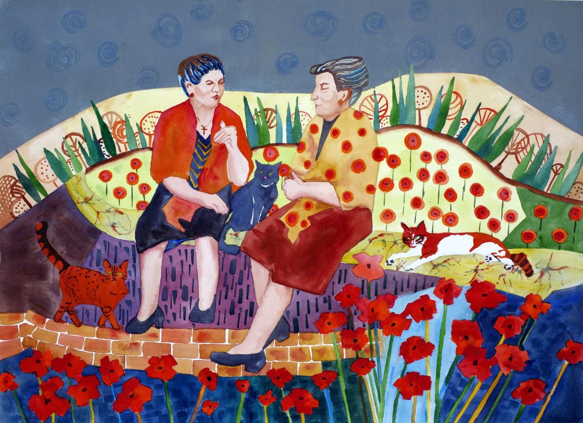Nonne e Gatti, 21x29, Watermedia on Paper, $1200